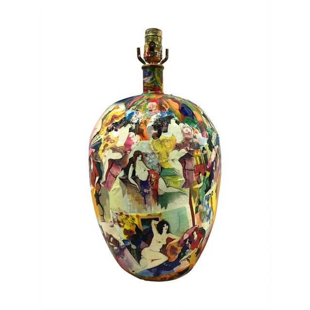 Fabulous artist-made lamp completely collaged with nude and clothed women and painted in brilliant colors. Reds, yellow,...