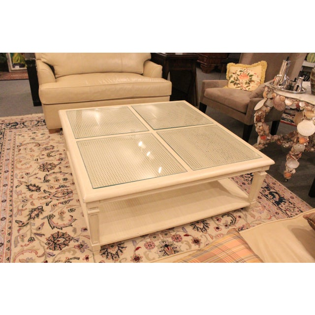 20th Century Hollywood Regency Square Cane Top Coffee Table For Sale In New York - Image 6 of 9