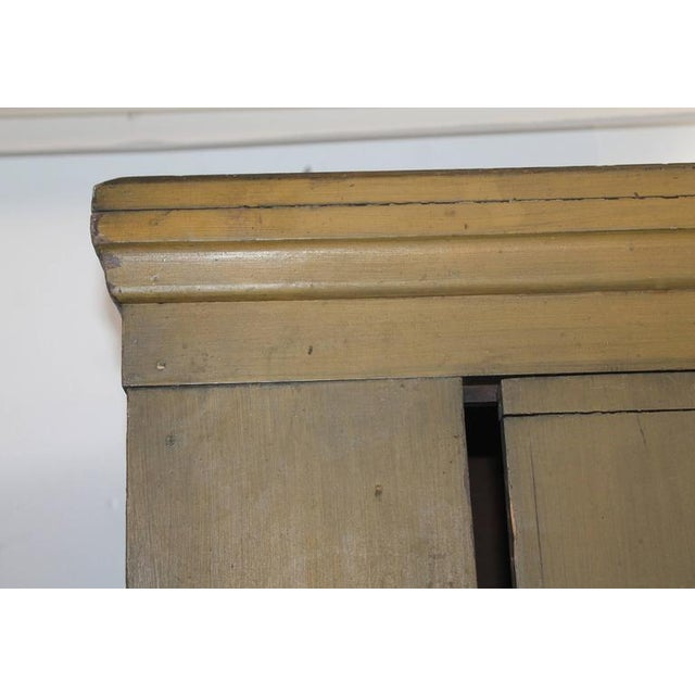 Pine 19th Century New England Original Painted Two-Door Wall Cupboard For Sale - Image 7 of 8