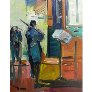 Jose Trujillo Original Expressionism Violinist Fauvist Large Music Oil Painting For Sale