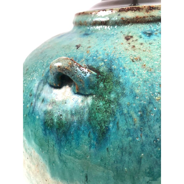 Large Green Glazed Art Pottery Lamp For Sale - Image 9 of 13