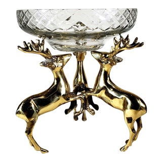 Vintage Solid Brass Deer Stag Stand With Cut Glass Bowl For Sale
