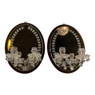 English Edwardian Mirrored Sconces - A Pair For Sale