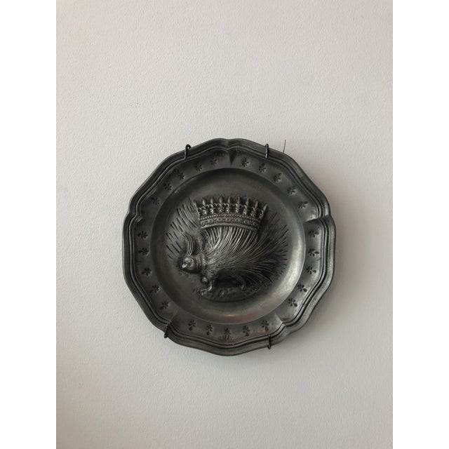 1940s Vintage French Pewter Plate With Porcupine Motif For Sale - Image 5 of 5