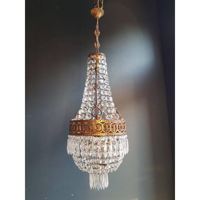 1930s Basket Chandelier Brass Empire Crystal Lustre Ceiling Lamp Antique Art Nouveau For Sale - Image 5 of 12