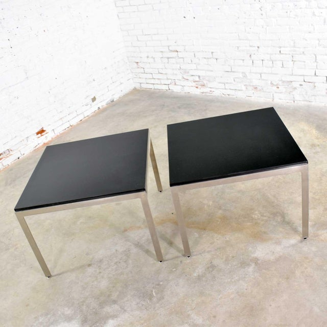 Pair Vintage Large Modern Square End Tables in Stainless Steel With Black Laminate Tops For Sale - Image 6 of 13
