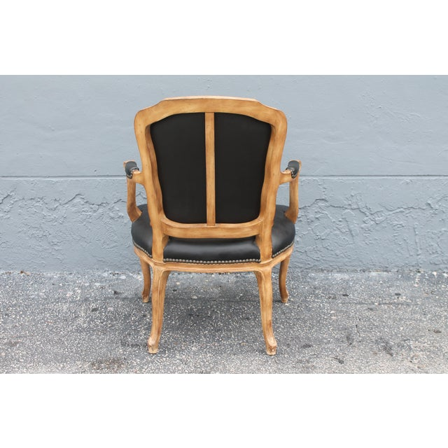 Black 1960s Vintage Louis XV Style Carved Walnut Armchair For Sale - Image 8 of 9