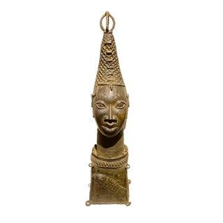 """Lg Benin Bronze Queen Mother Head Nigeria African 32.25"""" H For Sale"""