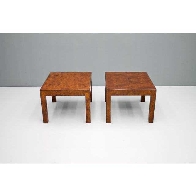 Pair of Burl Wood Side Tables 1970s. Very good condition. Worldwide shipping