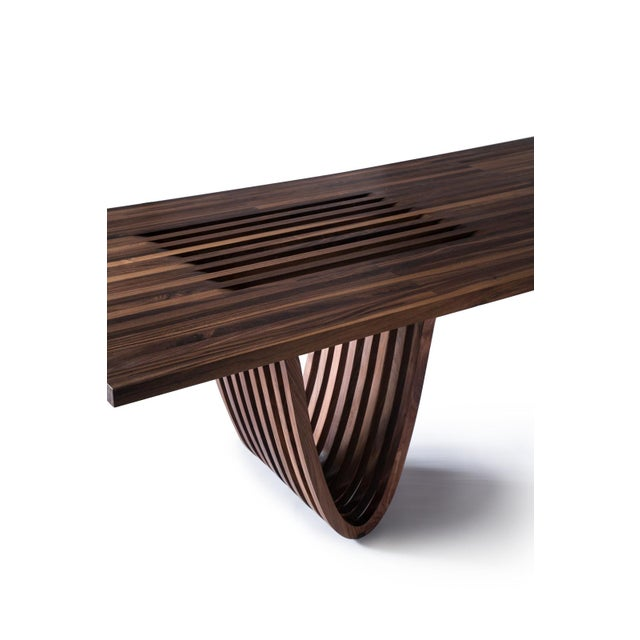 Contemporary Minimalist Walnut Dining Table For Sale - Image 3 of 5