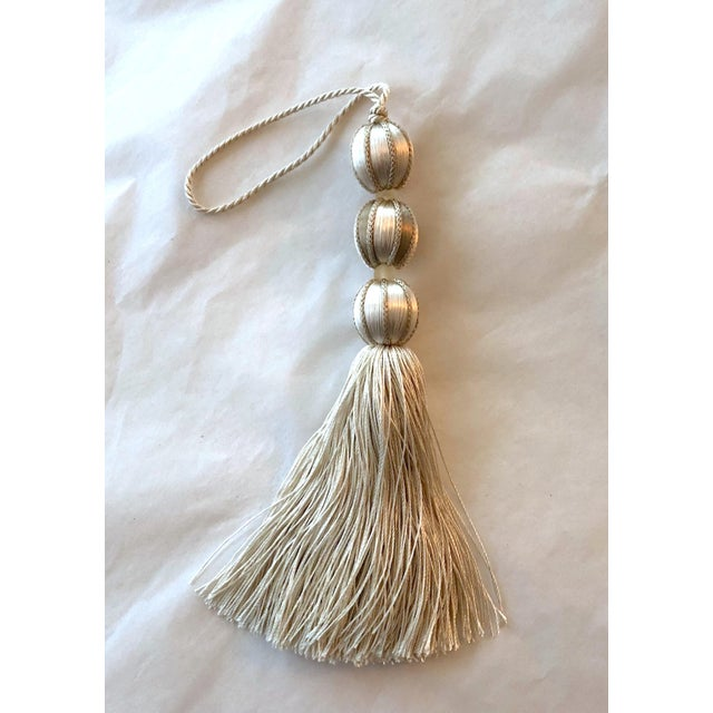 Modern Ivory Beaded Key Tassel - H - 7.5 Inches For Sale - Image 3 of 7