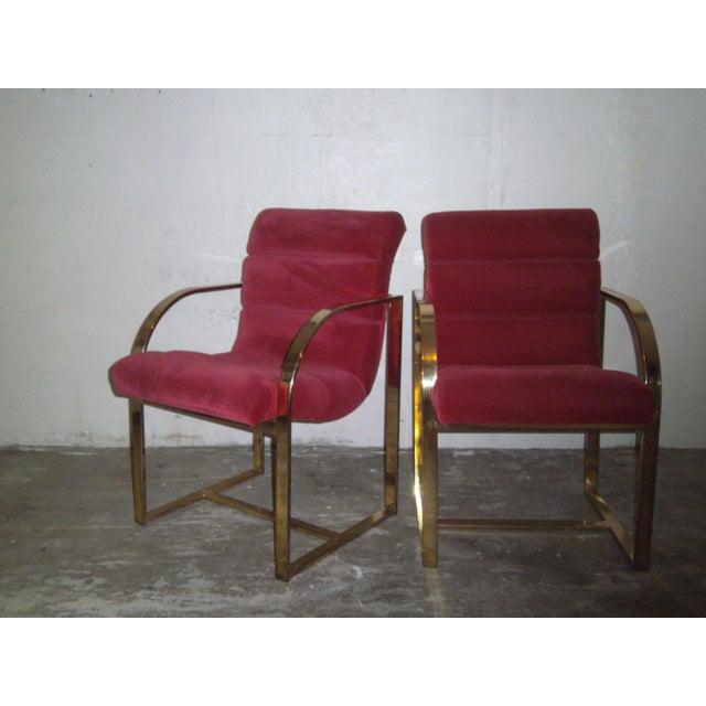 M. Baughman Cherry Velvet & Brass Chairs- A Pair - Image 2 of 8