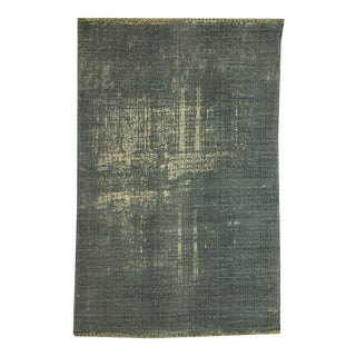 Blue/Green Distressed Cotton 'Dhurrie' Rug - 4′ × 6′ For Sale