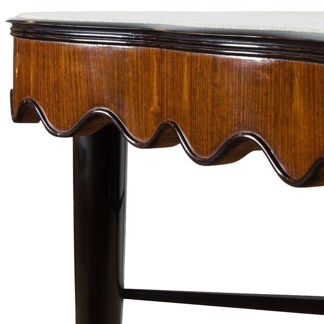 1940s 1940s Game Table, Mahogany, Corner Drawers, Brass, Felt, Italy For Sale - Image 5 of 8