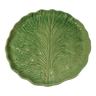 1970s Traditional Olfaire Majolica Green Cabbage Leaf Serving Platter