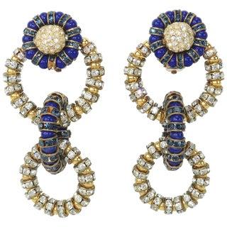 Vintage Francoise Montague Blue & Green Crystal Link Earrings For Sale