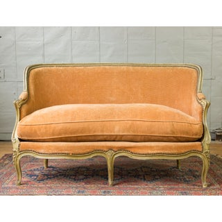 Small French Louis XV Style Settee in Pale Apricot Velvet Preview