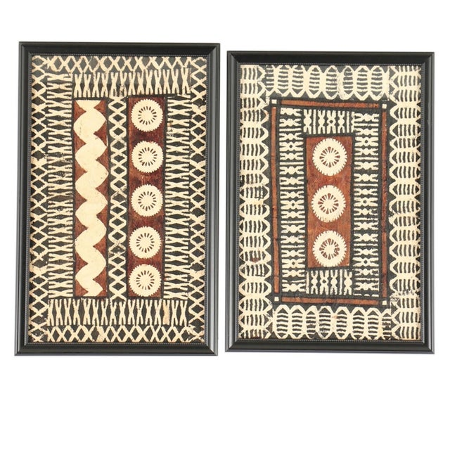 Framed Tapa Paintings on Bark Paper - a Pair For Sale - Image 13 of 13