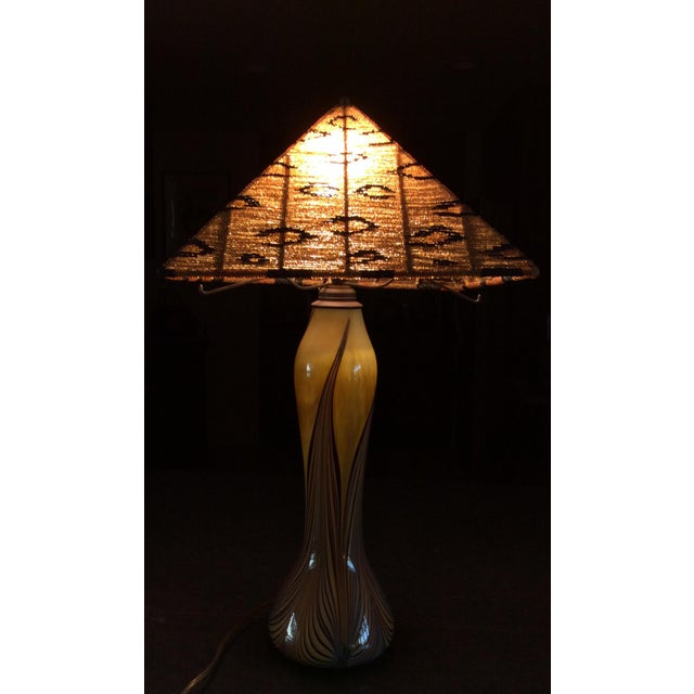 Boho Chic Art Glass Lamp With Beaded Shade For Sale - Image 3 of 4