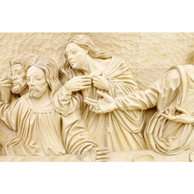 """""""The Last Supper"""" Wood Carving Relief Masterpiece by Emrich Mussner, 1976 For Sale - Image 4 of 11"""