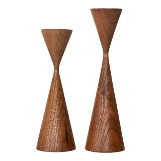 Mid-Century Modern Walnut Candlesticks In the Style of Rude Osolnik - a Pair For Sale