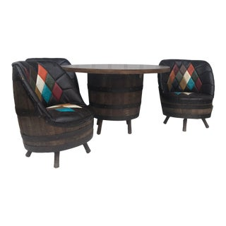 Mid Century Modern Whiskey Barrel Table and Chairs Set For Sale