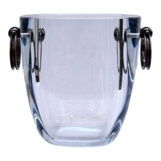 Strömbergshyttan Sweden Blue Glass Ice Bucket With Sterling Silver Handles For Sale
