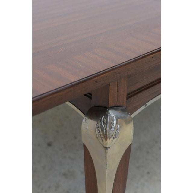 Metal Late Art Deco Palisander Extension Dining Table by Jean Pascaud For Sale - Image 7 of 8