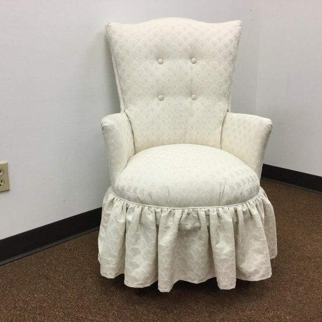 Vintage Skirted Boudoir Slipper Chair in Ivory Damask Upholstery For Sale - Image 11 of 11