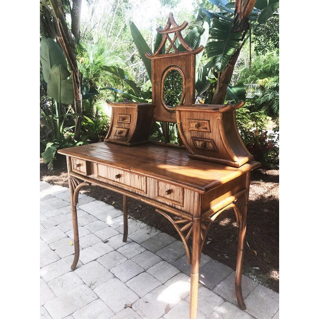 Vintage Bamboo Pagoda Vanity Table For Sale - Image 5 of 7