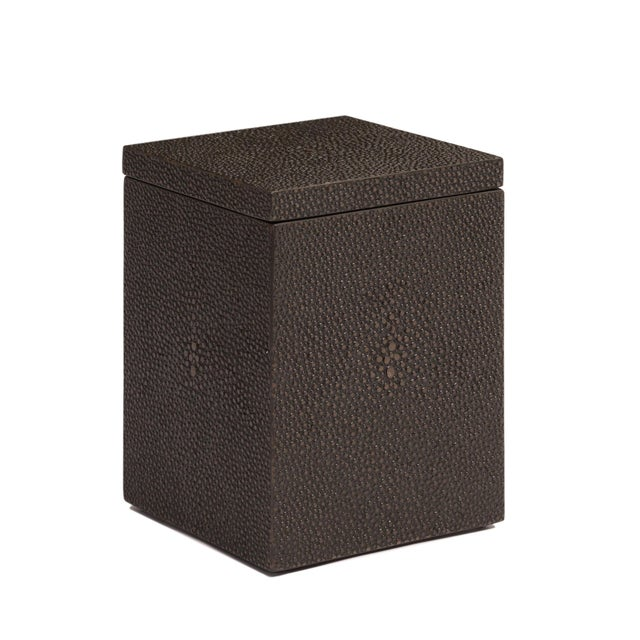 2020s Faux Skin Shagreen Chocolate Cotton Wool Box For Sale - Image 5 of 5
