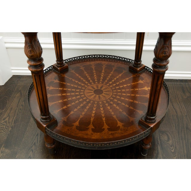 Round End Table With Inlay & Decorative Metal Edge - Image 5 of 5