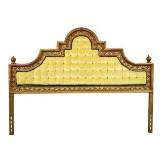 Hollywood Regency King Headboard of Gilded Cast Aluminum & Tufted Yellow Velvet by Kessler For Sale