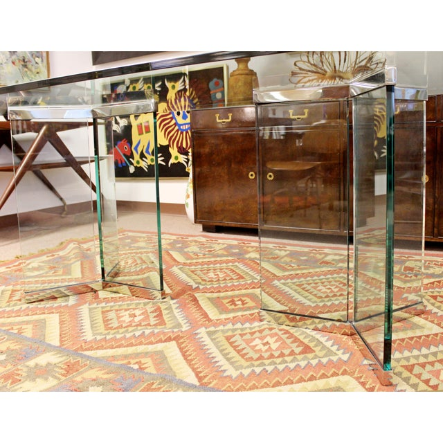 Vintage Pace Mid Century Modern Sculptural Rectangular Glass Chrome Dining Table For Sale - Image 10 of 12