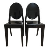Image of Philippe Starck Black Kartell Louis Ghost Chairs - A Pair For Sale