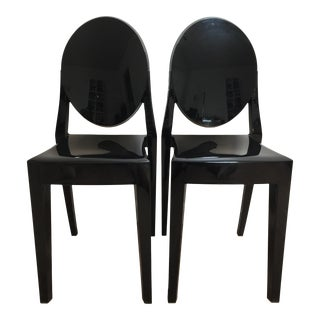 Philippe Starck Black Kartell Louis Ghost Chairs - A Pair For Sale