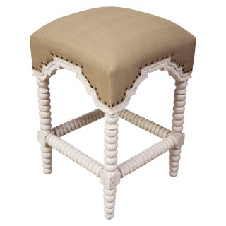 Abacus Counter Stool, White Wash For Sale