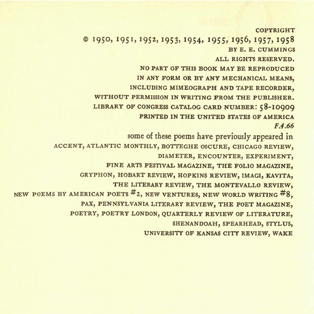 """Mid-Century Modern 1958 """"95 Poems"""" Collectible Book For Sale - Image 3 of 5"""