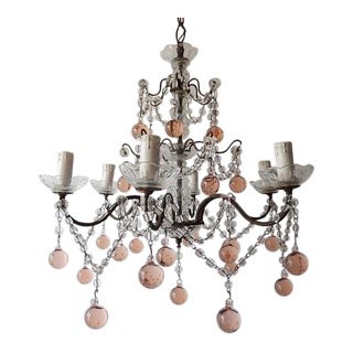 1920 French Pink Murano Balls Crystal Swags Chandelier For Sale