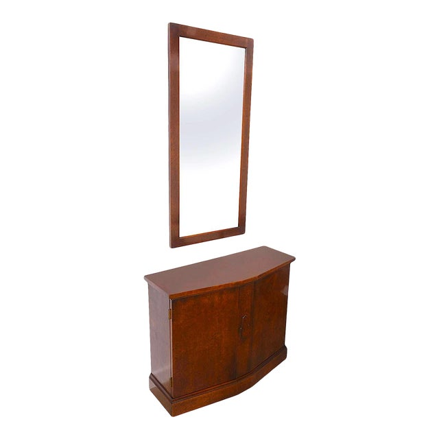 Mid-Century Burlwood Console & Mirror Set For Sale