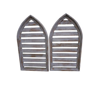Pair Rustic Gray Distressed Cathedral Slatted Shutters Shabby Cottage Windows For Sale