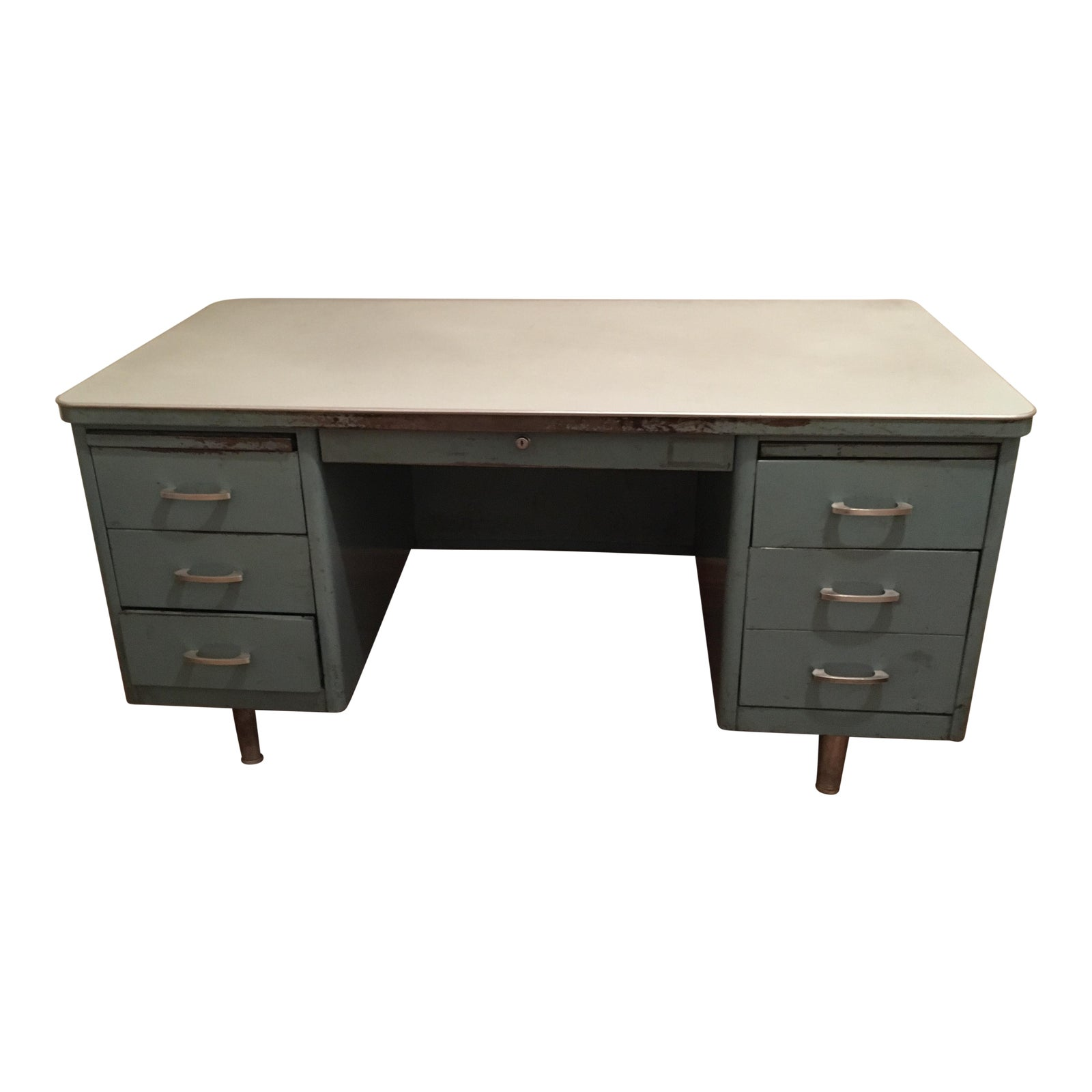 red recycled vintage furnishings steel products office tanker desk