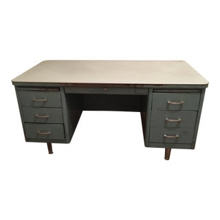 Vintage Mid-Century Turquoise Tanker Desk For Sale