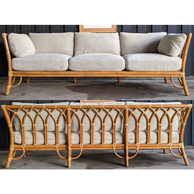 1980s Contemporary McGuire Bamboo Rattan Sofa For Sale - Image 11 of 11
