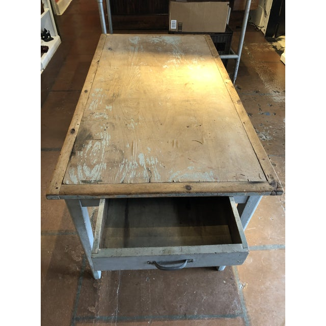 Rustic Antique Painted Wood Continental Table With Patina and Two Drawers For Sale - Image 3 of 13