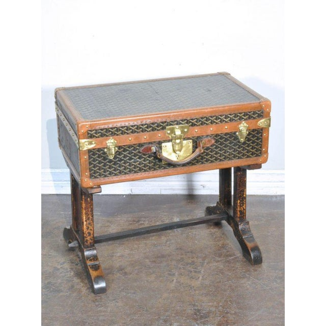 Goyard 19th Century French Goyard Suitcase on Wooden Saw Horse Stand For Sale - Image 4 of 6