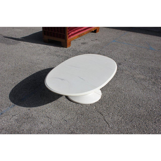 French Modern White Resin Oval Coffee Table For Sale - Image 4 of 13