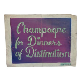 "Early 20th Century Antique ""Champagne for Dinners of Distinction"" Or. Dyson Original Painting on Parchment Paper For Sale"