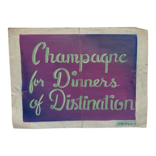 """Early 20th Century Antique """"Champagne for Dinners of Distinction"""" Or. Dyson Original Painting on Parchment Paper For Sale"""