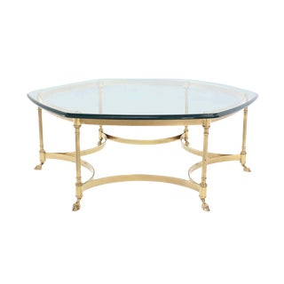1970's Vintage Labarge Style Hexagon Brass Coffee Table For Sale